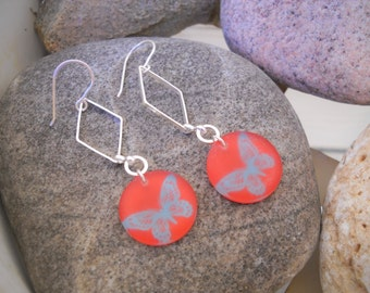 Silver and Red Resin Butterfly Pendant Dangle Earrings