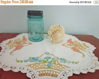 ON SALE Embroidered Flower Baskets Doily, Embroidered Flowers and Crochet Edges, Cottage/Shabby Chic