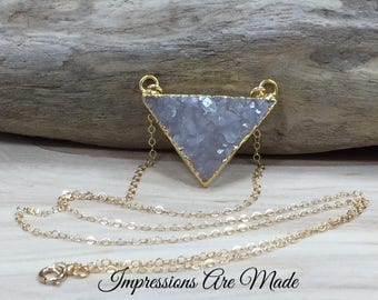 Triangle Necklace, Gold Triangle Necklace, Druzy Necklace, Druzy Triangle Necklace, Gold Necklace, Clear Necklace, Crystal Necklace