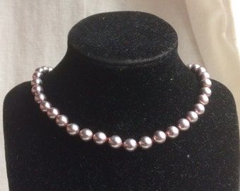 Vintage Lilac Faux Pearl Glass Bead Necklace