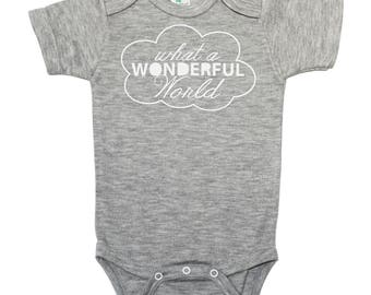 What a Wonderful World Bodysuit - Boy Baby Shower Gift -  Baby Boy Gift - New Baby Bodysuit - Hello World Bodysuit - New Baby Bodysuit