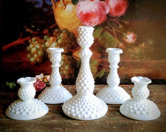 Milk Glass Candlesticks / Vintage Fenton Hobnail Milk Glass Candlesticks / Collection of Five / Wedding Decor / Home Decor