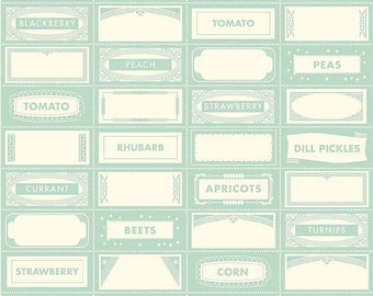 SALE - One Yard - Farm Girl Canning Labels by Riley Blake in Teal