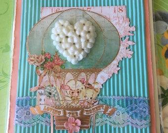 Baby shower new born card handmade layed shabby chic