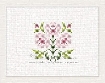 Antique Cross Stitch Rose Design - Machine Embroidery Design - Cross Stitch Embroidery - Floral Cross Stitch Design - HBS-AROSE-4