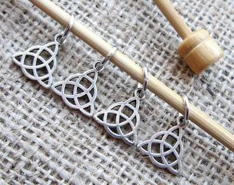 Celtic Triquetra Silver Stitch Marker Set - knit knitter knitting set of 4 trinity knots