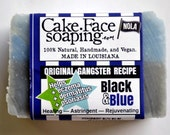 Black and Blue aids in healing skin vegan soap for thin skin
