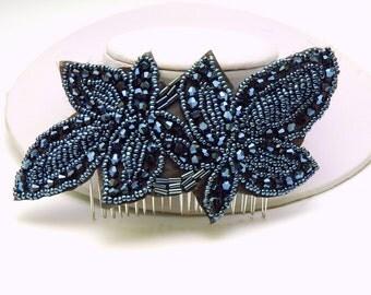 Vintage Style Beaded Hair Comb, Black Blue Applique 1920s Headpiece, The Great Gatsby Headpiece, Downton Abbey Headpiece,  Hair Piece
