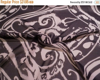 ON SALE Black and Ecru Large Paisley Print Stretch Silk Chiffon Fabric-One Yard