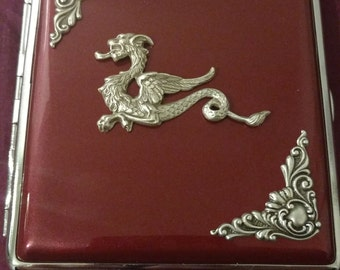 Dragon Metallic Red / Blue Gothic cigarette case / wallet / card holder with silver edging