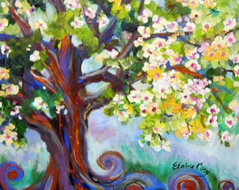 Flowering Plum Original painting 18 x 24 canvas art by Elaine Cory