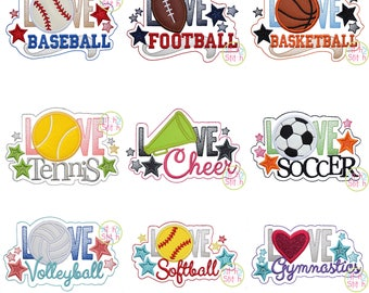Love Sports Applique Design Set For Machine Embroidery, NINE designs included INSTANT DOWNLOAD now available