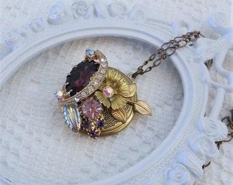 Vintage Locket Necklace, Flower Locket, Vintage Juliana, Collage Locket, Jeweled Locket, Memory Locket, Purple Necklace, Assemblage Jewelry