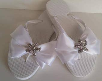 SALE - White Flip Flops with Crystal Starfish  - Wedding Flip Flop - Bridal Sandals - Wedding Sandals