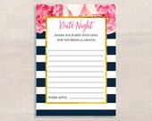 Date Night Idea Cards, Navy & White Stripe Peony Bridal Shower Activity, Floral, Printable, INSTANT DOWNLOAD