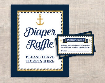 Nautical Diaper Raffle Sign and Tickets, Navy & Gold Anchor Baby Boy Shower, Invitation Insert, DIY Printable, INSTANT DOWNLOAD
