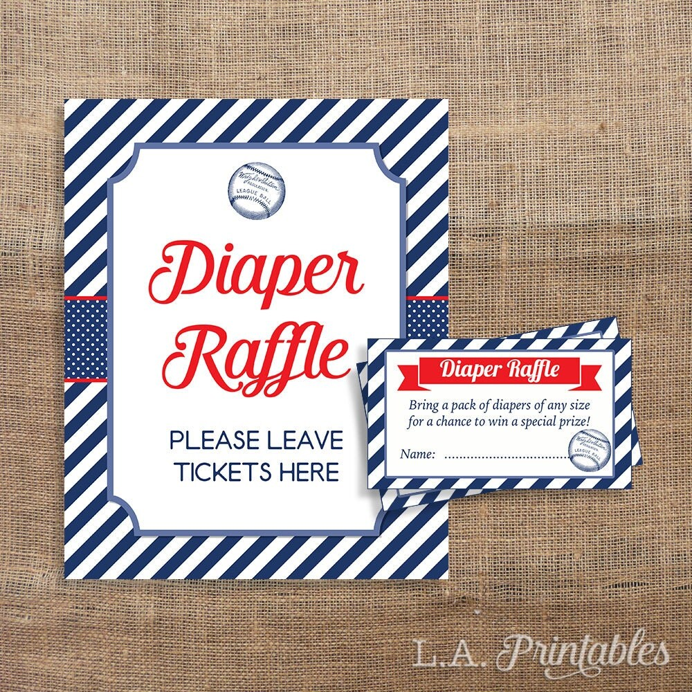 baseball diaper raffle sign  u0026 tickets red white and blue