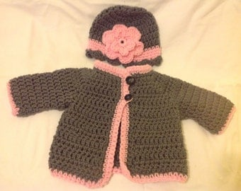 Baby sweater and hat set grey and pink cardigan