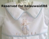RESERVED custom order listing. 2nd half payment for Peter Rabbit romper