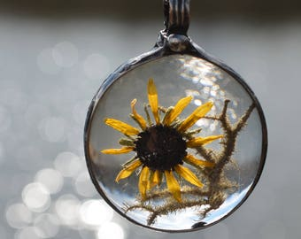 Summer Jewelry, Real Flower Jewelry, Black Eyed Susan, Maryland State Flower, Nature Lover Jewelry, Real Flowers, Terrarium Jewelry (2735i)