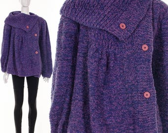 Vintage ASYMMETRIC Purple Sweater Cocoon Chunky Knit Purple Pink Funnel Neck Sweater Cardigan Minimalist Jumper Medium Large