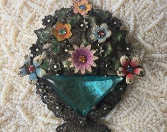 Vintage Pot Metal Floral Basket Brooch with Aquamarine Stone, Estate Jewelry