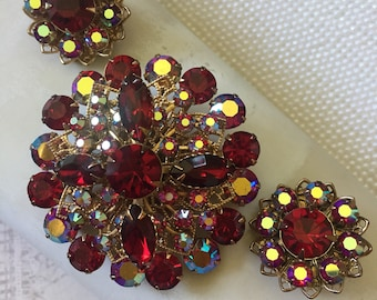 Vintage AB Red Rhinestone Brooch and Clip On Earring Set, Estate Jewelry