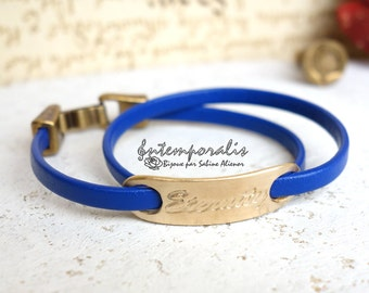 Bronze and blue leather bracelet, Eternity, OOAK, SABR40