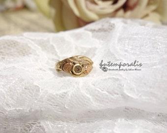 Bicolore bronze and pink cubic zirconium ring, US size 4 3/2, OOAK, SABA45