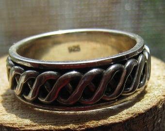 Vintage Sterling Silver Men's Spinner Ring Size 10 1/2 Silver Band with Spinning Center Braided Rope Design Wedding Band