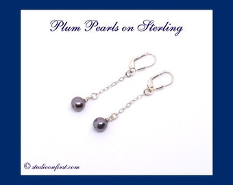 Pearl Dangle Earrings, Sterling Silver, Plum Pearls, Delicate, Chic