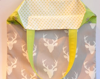 Book bag - market bag - Cotton tote purse  book lover - travel bag - all purpose tote - deer buck on gray -