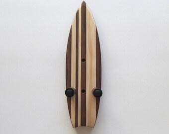 Ukulele wall mount hanger, mini surfboard, dark brown