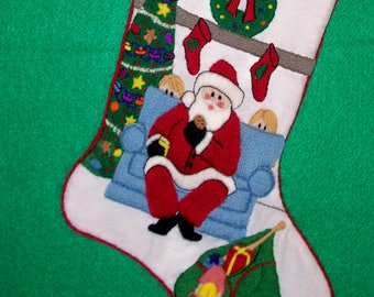 Right Facing Santa Christmas Stocking Kit - Crewel Embroidery Kit for Beginners - Personalized Unique Gift