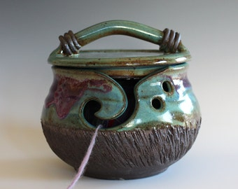 Yarn Bowl, Kitty-Proof Yarn Bowl, cat yarn bowl, ceramic yarn bowl, knitting bowl, yarn holder, As featured in SIMPLY KNITTING MAGAZINE