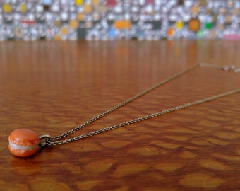 Made to Order Sterling Silver Cable Clay French Macaron Necklace- Pumpkin Orange