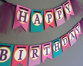 Happy Birthday Banner - Girls Birthday Banner - Purple Banner - Spa Party - Slumber Party