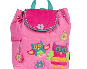 Personalized Monogrammed --New Pattern- Stephen Joseph Kid Quilted Pink Teal Owl Backpack--Free Monogramming--Fast Turnaround