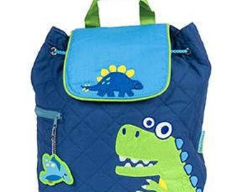 Personalized Monogrammed --New Pattern- Stephen Joseph Kid Quilted Blue Green Dino Backpack--Free Monogramming--Fast Turnaround