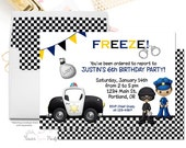 Policeman Birthday Invitation Printable or Printed, Police Car Invitation, Police Officer Invitation, Detective Party, Cops and Robbers