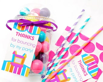 Bounce House Party Favor Tags, Bounce House Gift Tags, Bounce House Birthday, Ball Pit Party, Bounce Party, Girls Birthday, Thank You Tags