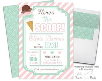 Ice Cream Party Invitation, Ice Cream Birthday Invitation, Ice Cream Social, Girls Birthday Invitation, Ice Cream Parlor, Printed Invitation