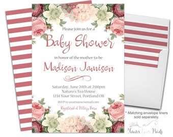 girls baby shower invitation floral baby shower invite boho baby shower rustic baby