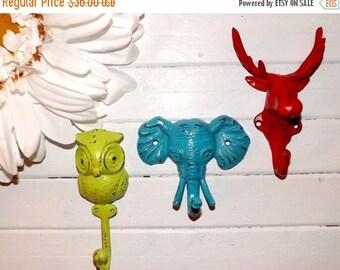 HOLIDAY SALE Moose / Owl / Elephant Wall Hook / Cast Iron Hook / Nursery