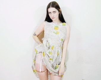50s 60s floral print sleevless garden dress size M