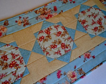 Spring Quilted Table Runner in Soft Aqua Blue and Beige, Floral Quilted Table Topper, Table Quilt, Pastel Dresser Scarf, Bedroom Decor