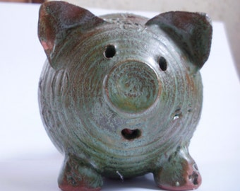 SALE ! Stoneware Pig ADORABLE Little Piggy Handmade Pottery Studio Art signed DeeDee Glazed Ceramic  Piglet for your Pig Collection !