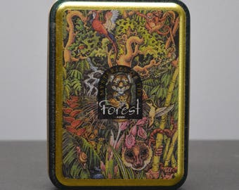 Vintage ZIPPO Collectible Tin 1995 (empty) Mysteries of the Forest 4th in Series Jaguar and Cub at Turtle Falls