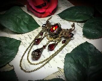 Ox Blood Red Goth Victorian Barrette, Garnet Crimson Red Edwardian Bridal Barrette, Antiqued Bronze Filigree, Titanic Temptations Jewelry