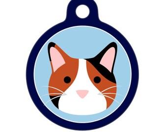 Pet ID Tag - Calico Kitty Cat Pet Tag, Dog Tag, Cat Tag